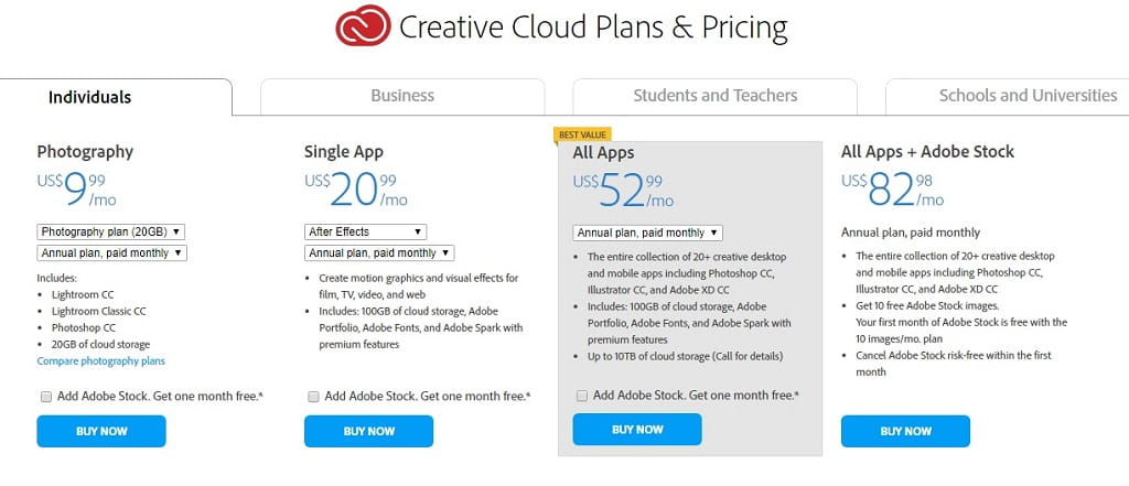 Creative Cloud Plans & Pricing